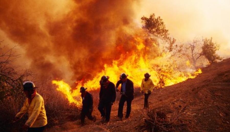 vigili del fuoco impegnati in un incendio