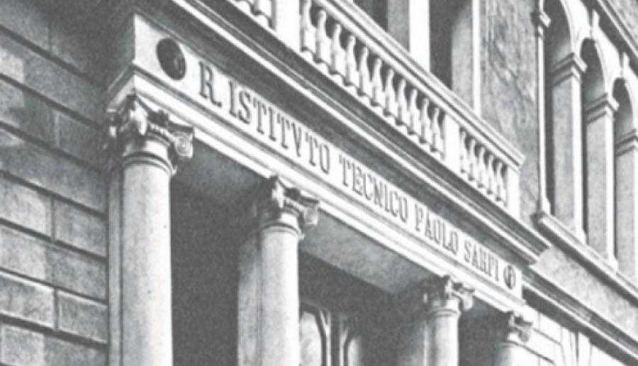 immagine di copertina del libro che ripercorre la storia dell'istituto P. Sarpi di Venezia